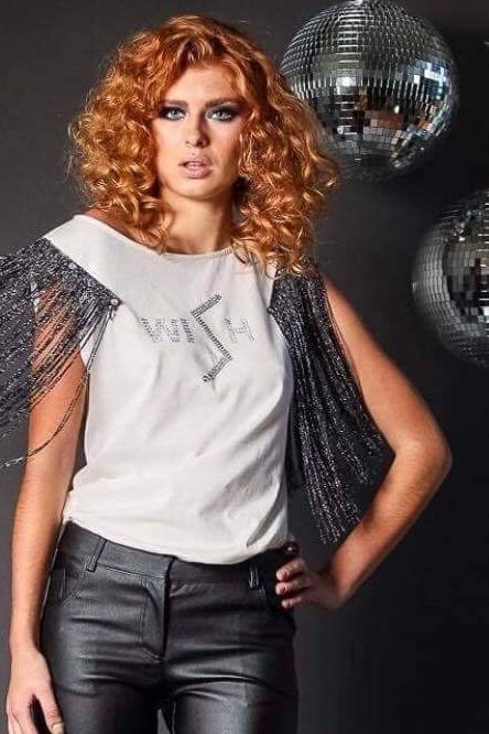 Μπλούζα με τύπωμα και κοντό διακοσμητικό κρόσσι άσπρη 2129.0124