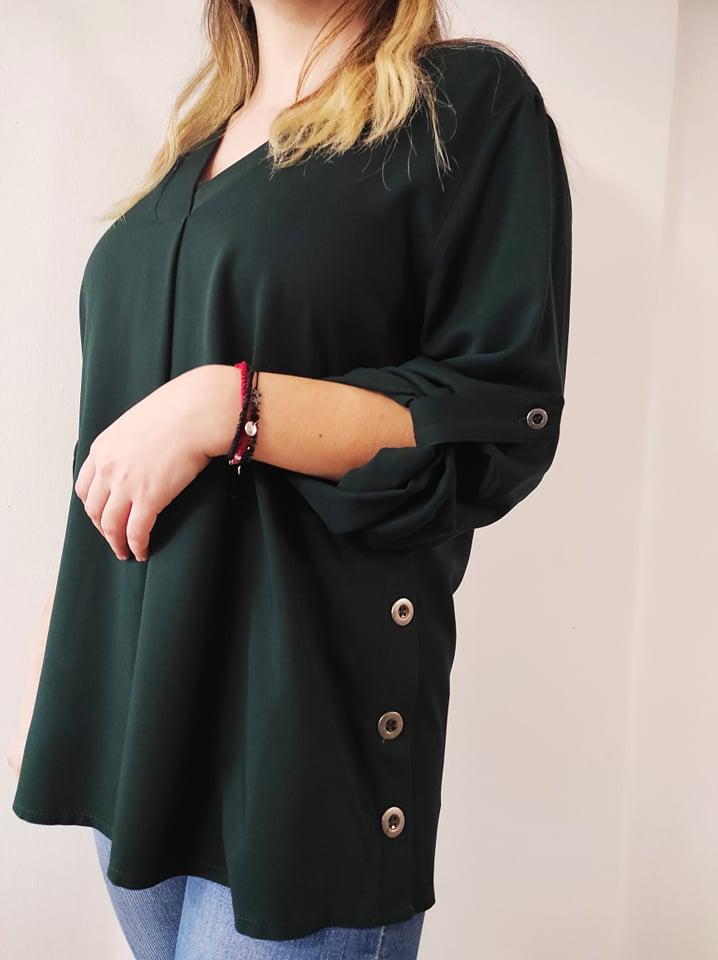 Μπλούζα μονόχρωμη V με κουφόπιετες & κουμπιά στο πλάι πράσσινη 21404-2
