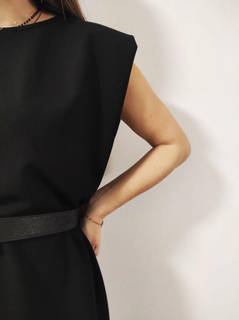 Φόρεμα αμάνικο κρεπ με βάτες μαύρο 53571200