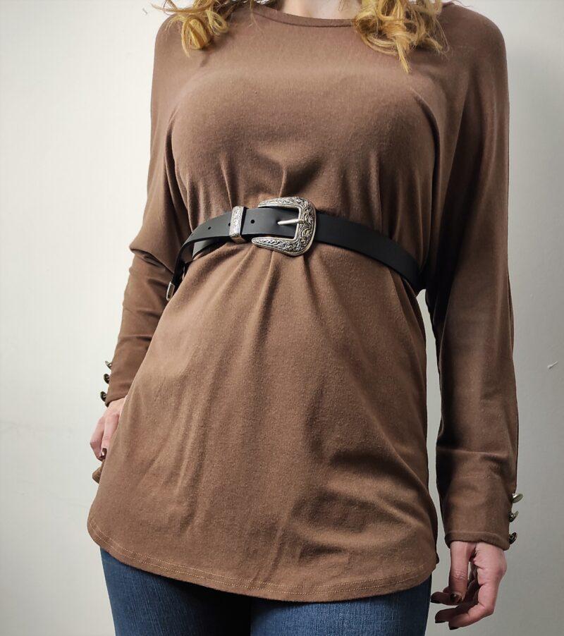 Μπλούζα καφέ με κουμπιά στην πλάτη 6476-1