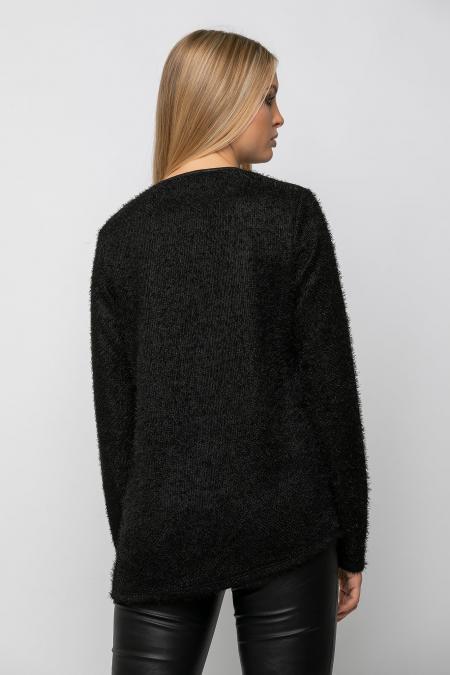 Μπλούζα πλεκτή κρουαζέ με δερματίνη εμπρός σε άνετη γραμμή μαύρη 2102.3958