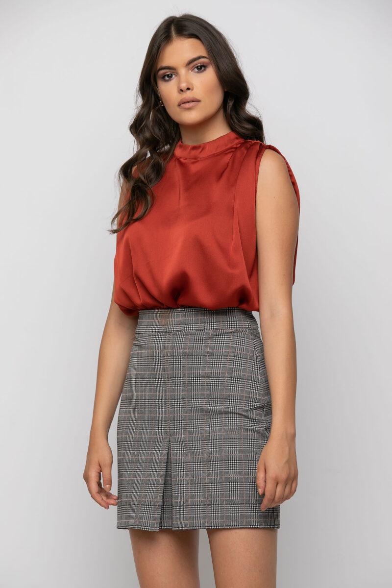 Φούστα mini σε καρώ ελαστικό 2104-1085