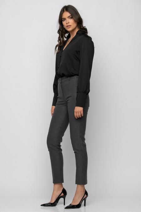 Παντελόνι τσίνο ψηλόμεσο με τσέπες εμπρός και φιλέτα πίσω γκρί 21081526-1
