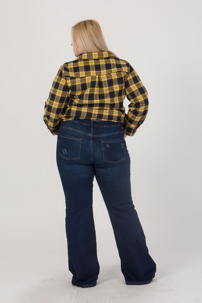 Παντελόνι τζίν ψιλόμεσο καμπάνα μπλέ A123