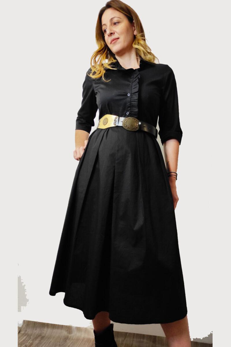 Φόρεμα ποπλίνα μαύρη A321