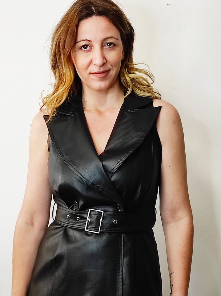 Φόρεμα δερμάτινο αμάνικο μαύρο B376