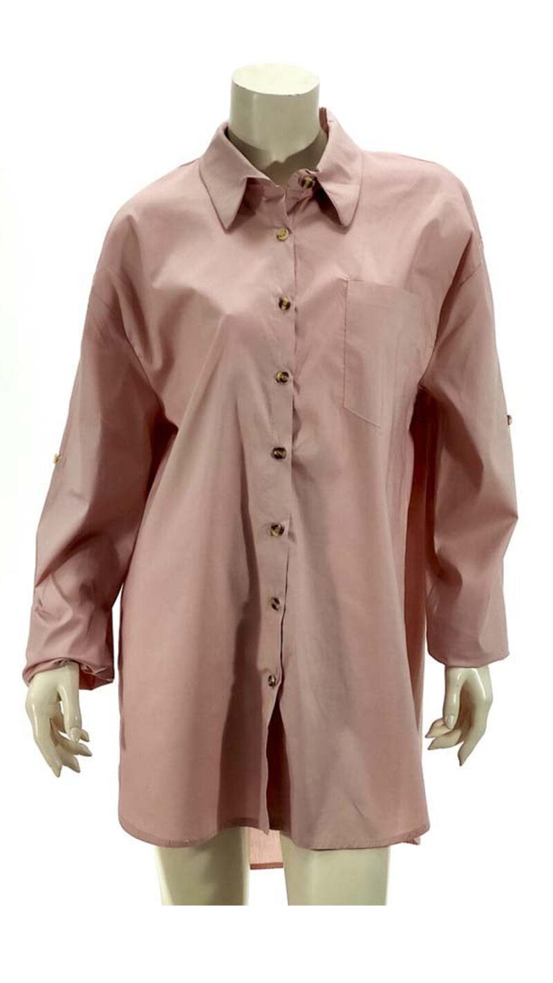 Πουκαμίσα φόρεμα oversize ρόζ 3370-1
