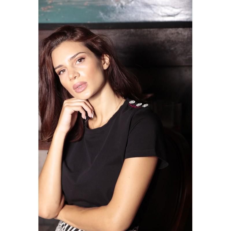 Μπλούζα με swarovski Κουμπιά και τρέσσα μαύρη 20215