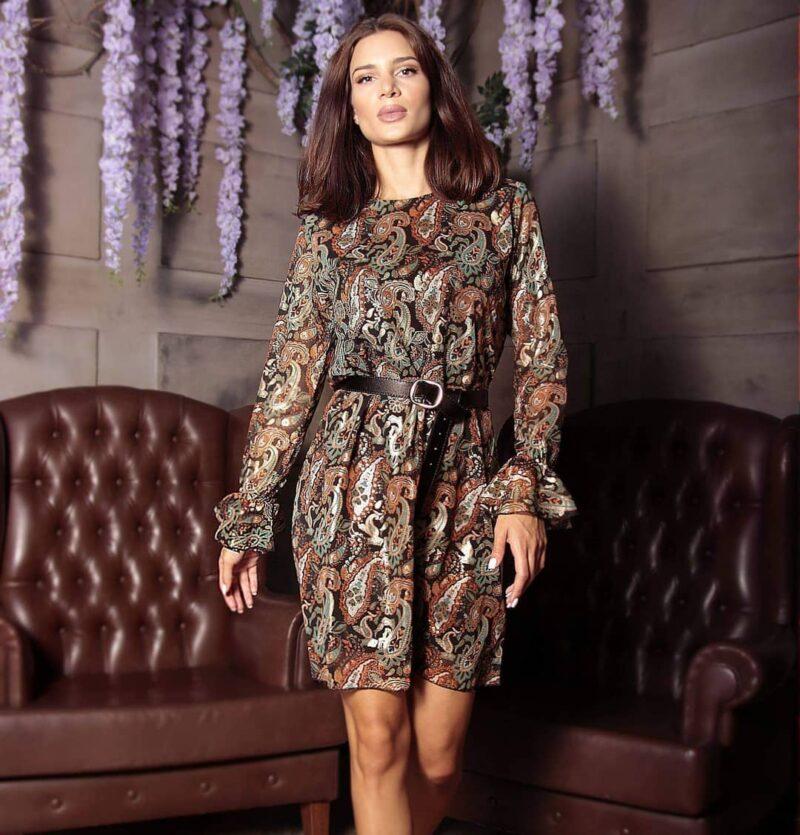 Φόρεμα εμπριμέ με χρυσοτυπία αμπίρ γραμμή 20223