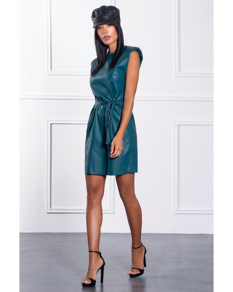 Φόρεμα δερματίνη με βάτες & ζώνη πετρόλ 503631900