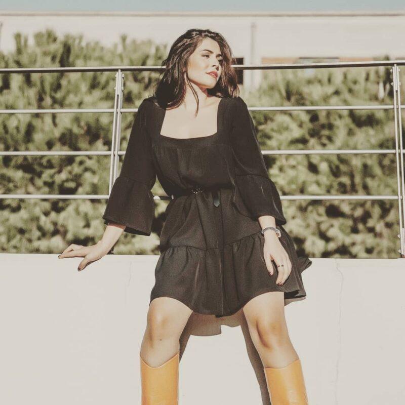 Φόρεμα σε άνετη γραμμή με μανίκι μαύρο 20224