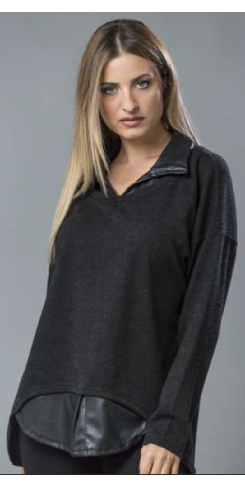 Μπλούζα με δερμάτινο γιακά σε πλεκτό μαύρο 4961