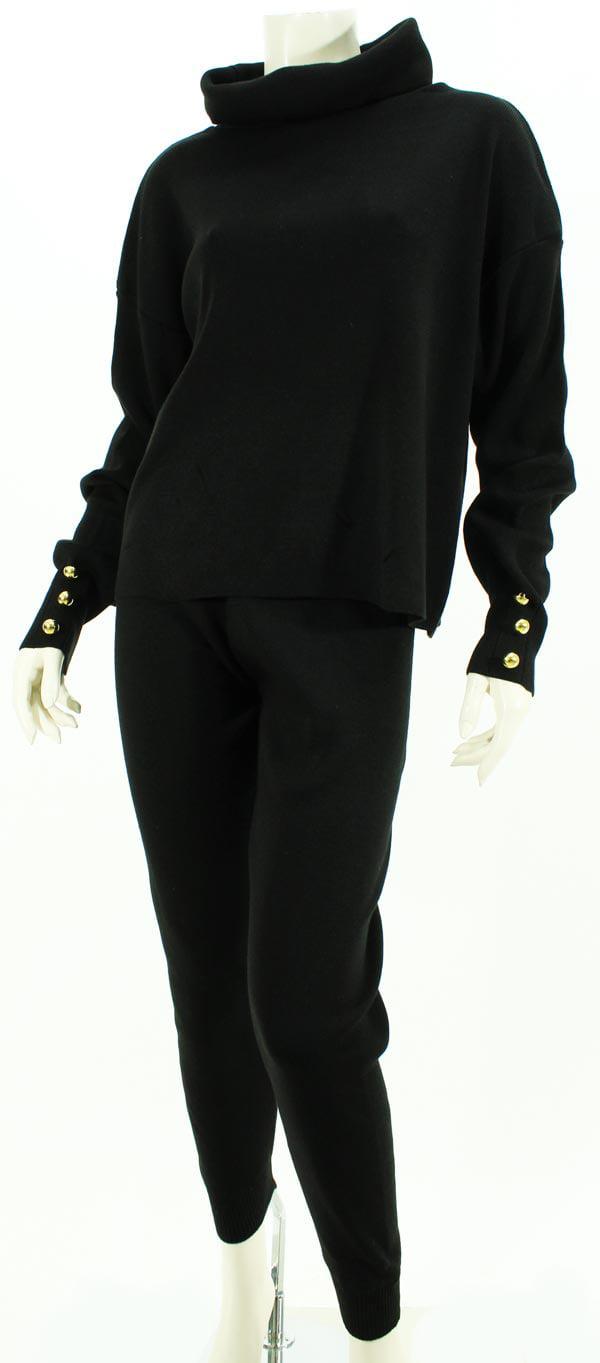 Σέτ πλεκτό σε άνετη γραμμή μαύρο 2005-1
