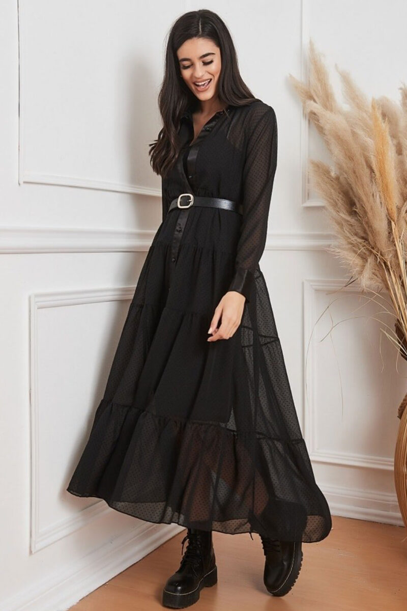 Φόρεμα σεμιζιέ μαύρο 202278