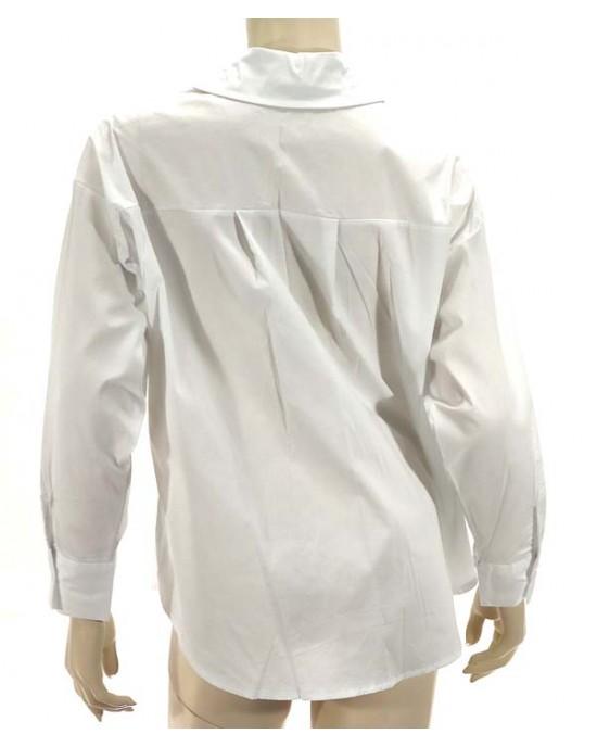 Πουκάμσο ποπλίνα oversize λευκό 3380-1