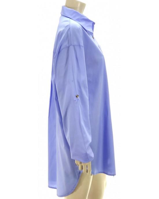 Πουκαμίσα φόρεμα oversize σιελ 3370