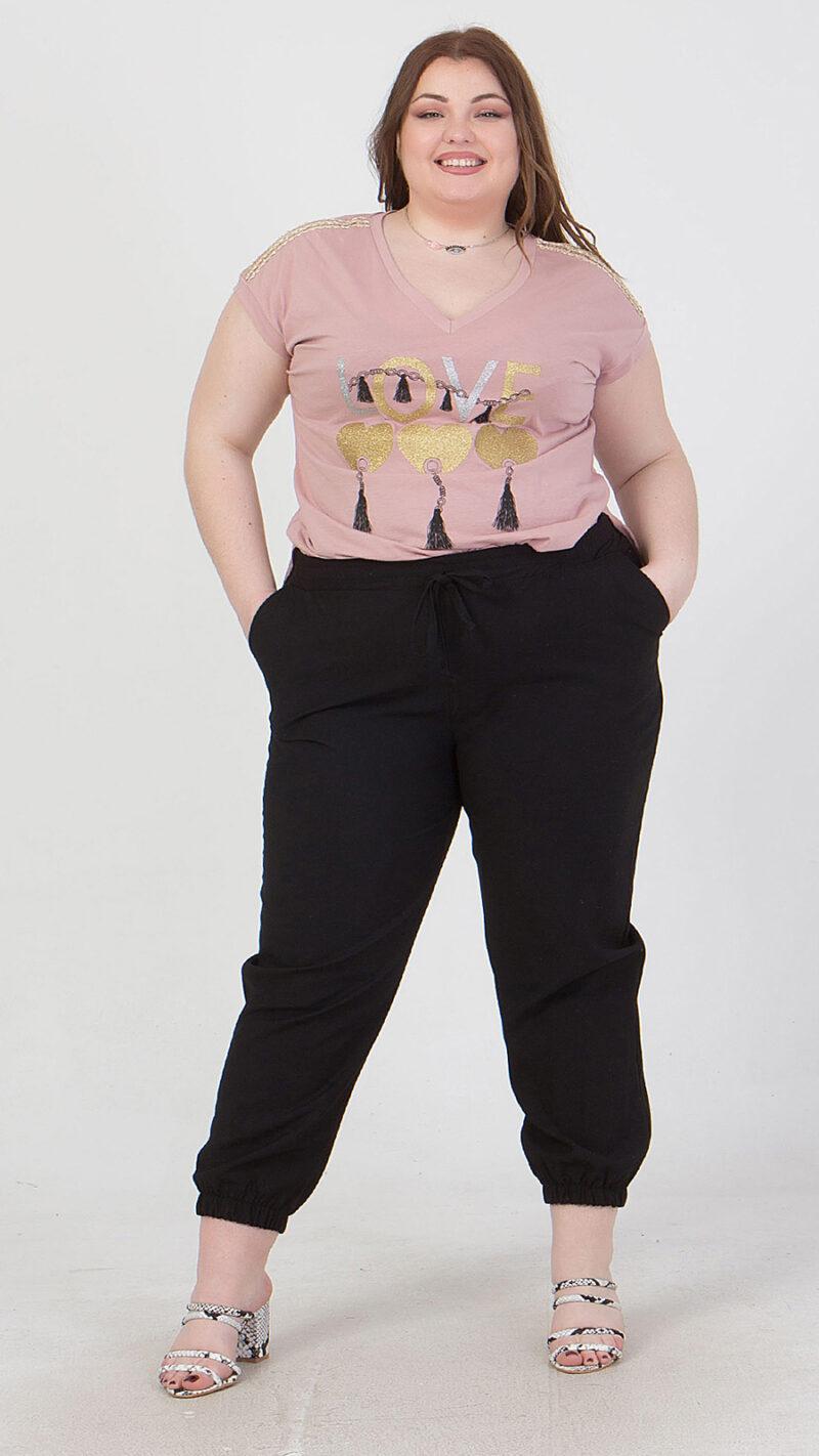 Παντελόνι με κορδόνι στη μέση & λάστιχο στο τελείωμα μαύρο 2160.41328