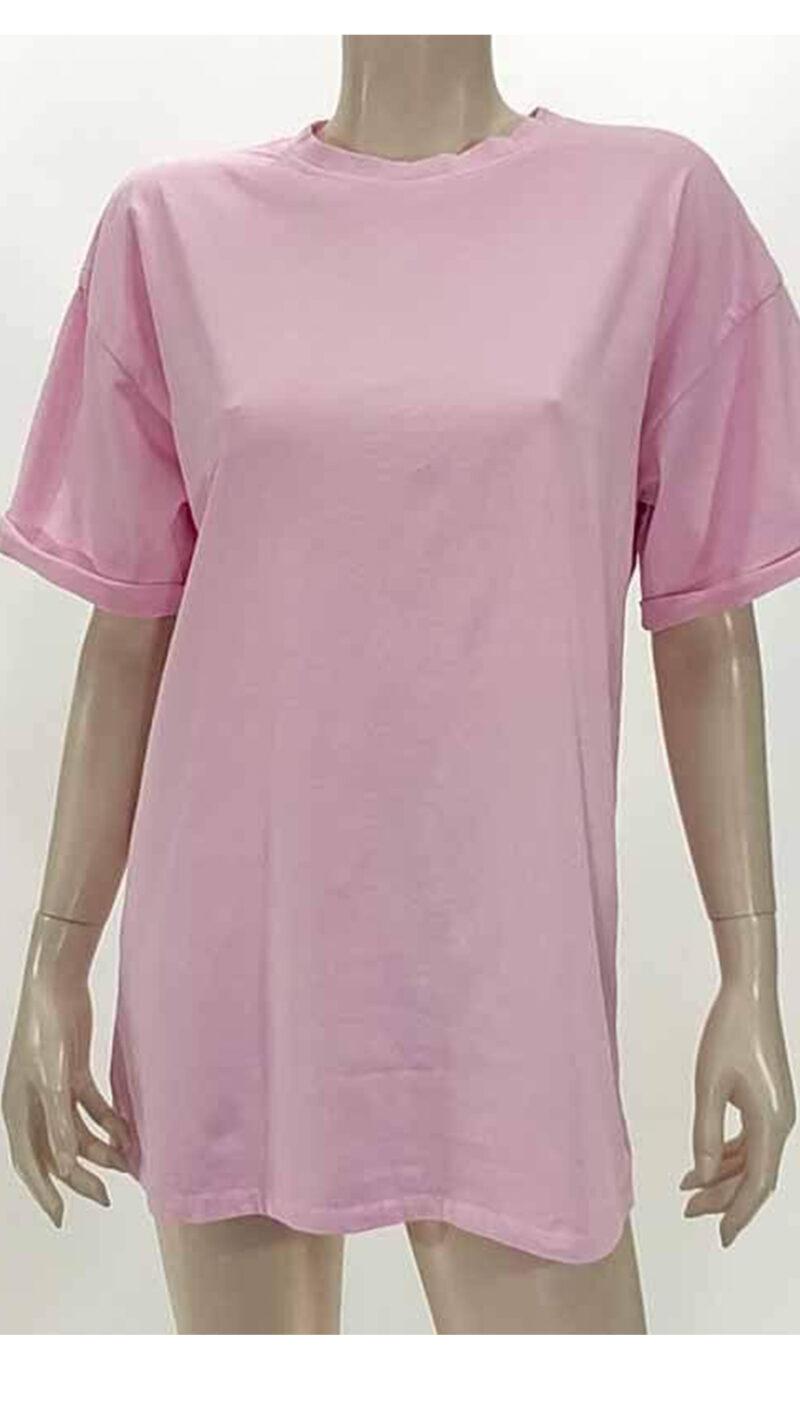 Μπλούζα με κοντό μανίκι ρόζ A5321