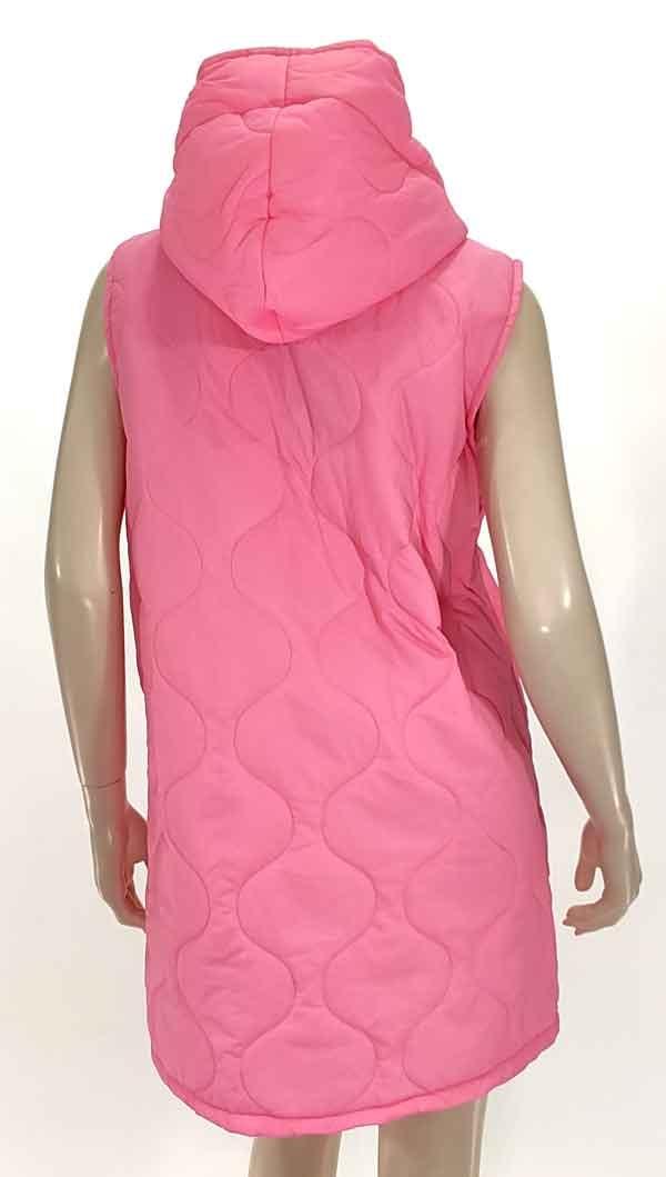 Μπουφάν αμάνικο oversize με κουκουλα ρόζ 3169-1