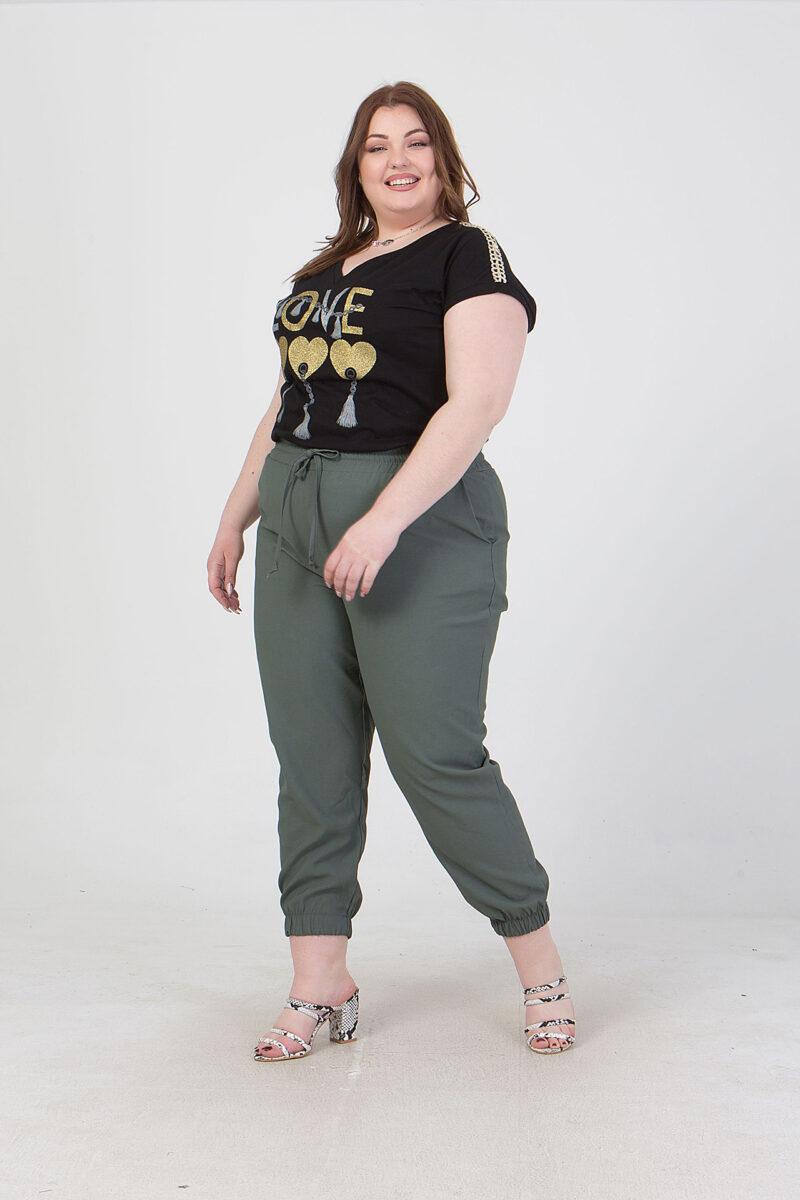 Παντελόνι με κορδόνι στη μέση & λάστιχο στο τελείωμα χακί 2160.41328-1