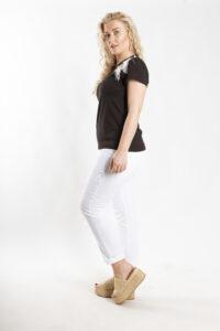 Παντελόνι λευκό με ρεβέρ 8220