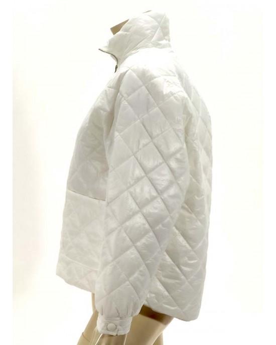 Μπουφάν καπιτονέ oversize λευκό 3366-4
