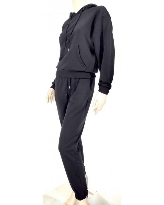 Σέτ φόρμας φούτερ μαυρό 8999-1