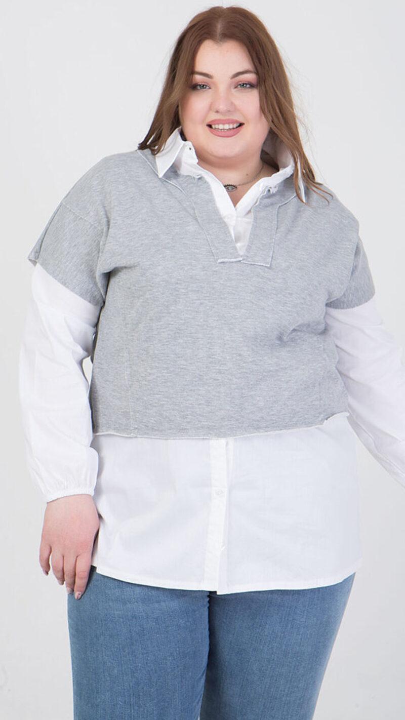 Πουκάμισο μακρυμάνικο με μπλούζα από πάνω γκρί 2160.21268-1