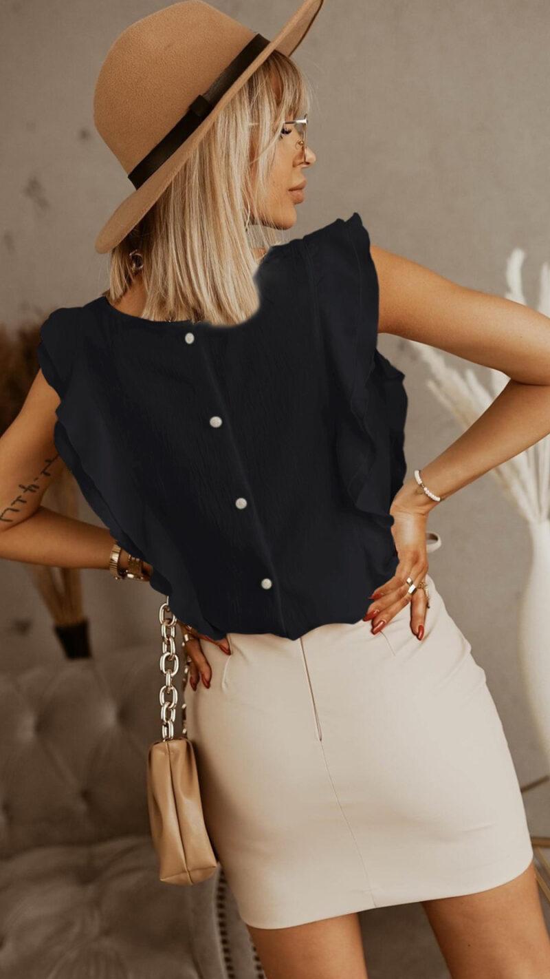 Μπλούζα με βολάν μαύρο 3002-6