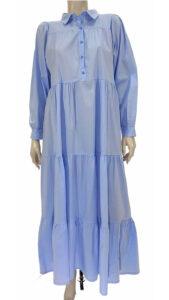 Φόρεμα ποπλίνα με βολάν σιέλ 3321-2