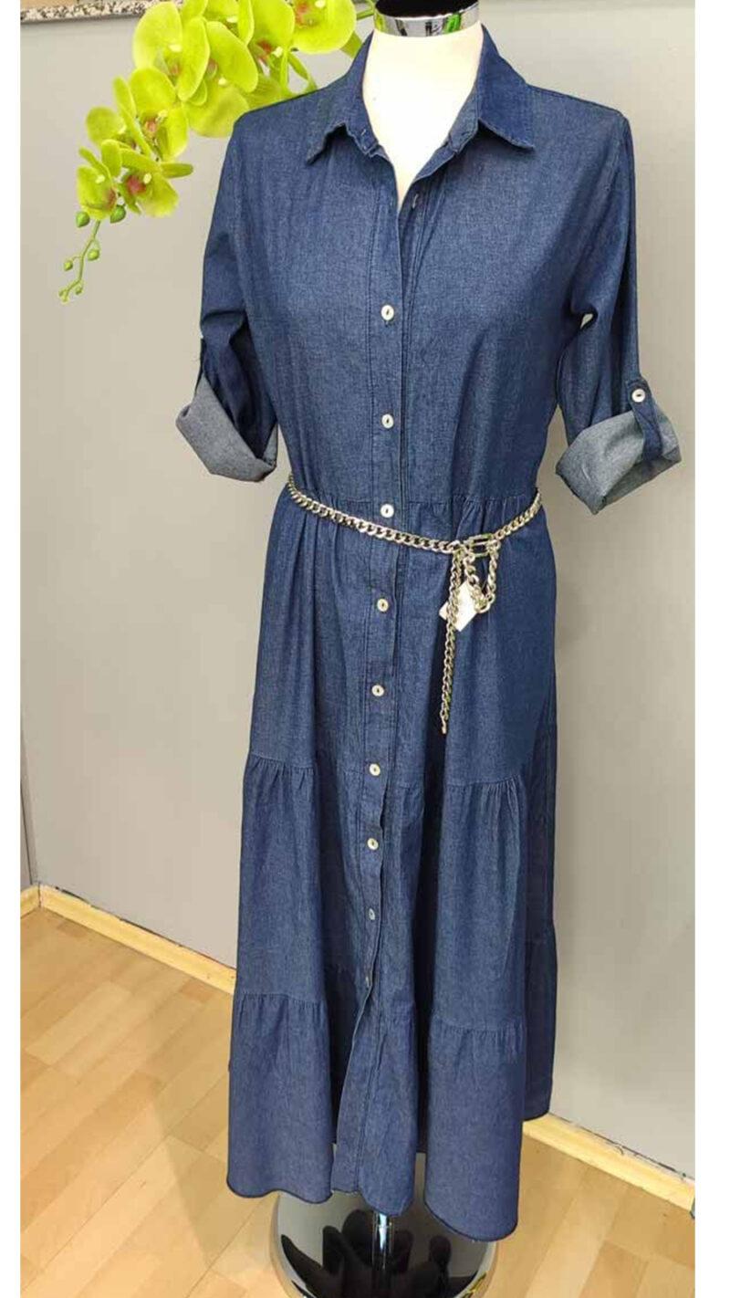 Φόρεμα τζήν σεμιζιέ σε άνετη γραμμή 8324