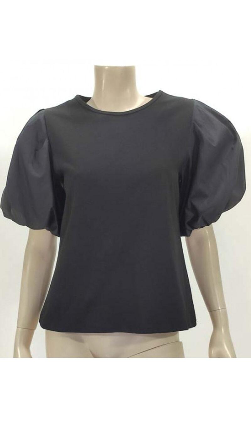 Μπλούζα με φούσκα μανίκι μαύρη 3902-3