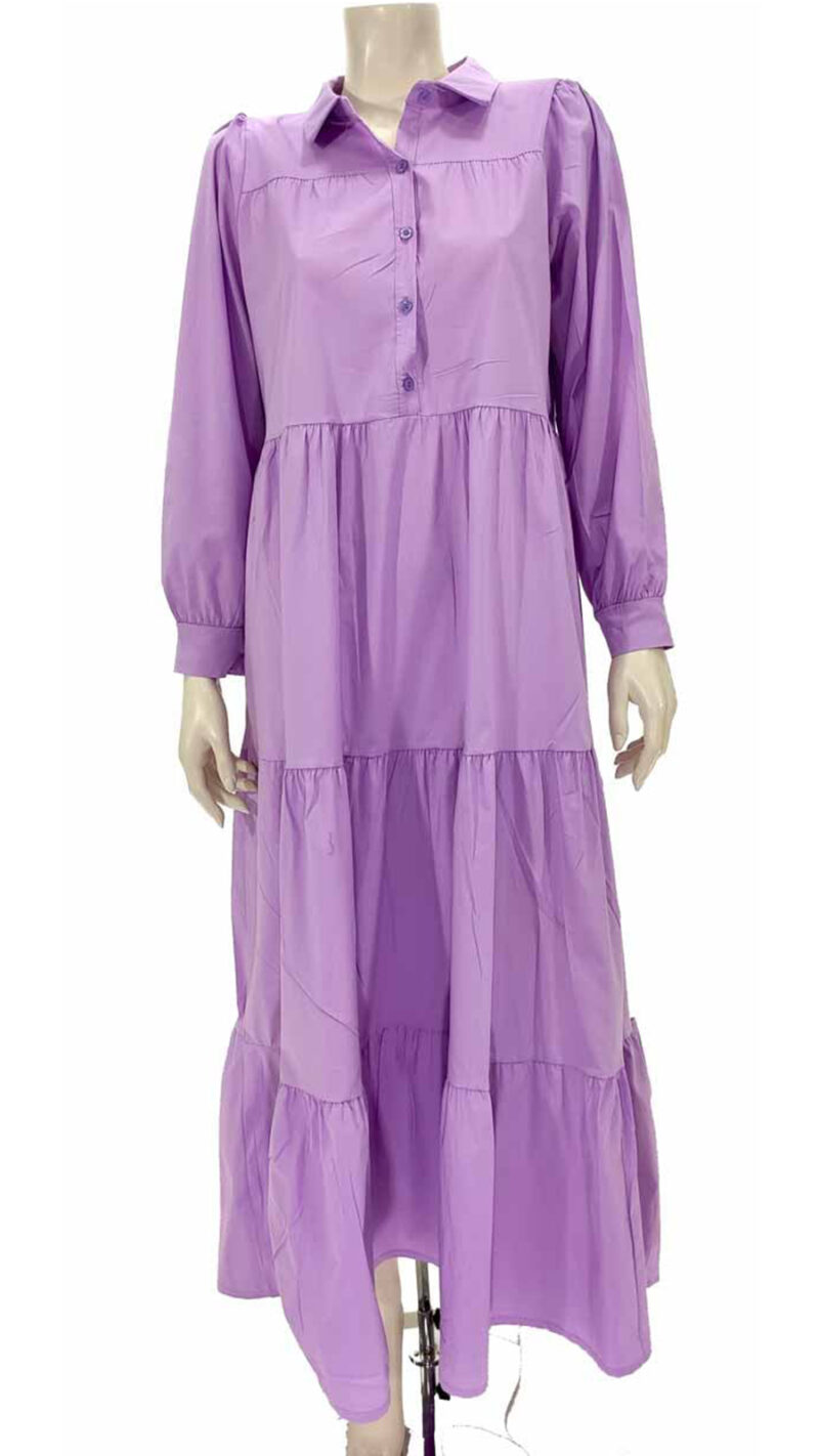 Φόρεμα ποπλίνα με βολάν λιλά 3321-1