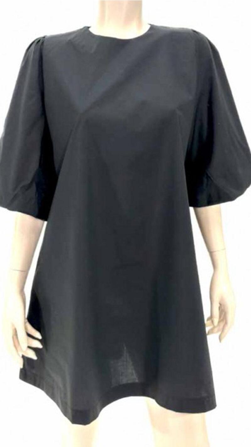 Φόρεμα ποπλίνα σε άλφα γραμμή μαύρο 6901-5