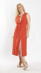 Φόρεμα midi πορτοκαλί 2119