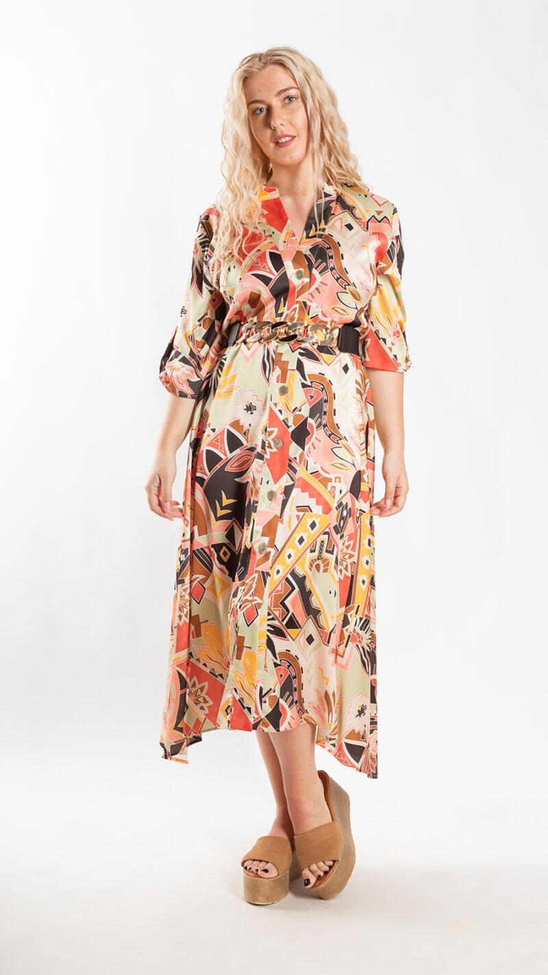 Φόρεμα σεμιζιέ εμπριμέ 6120