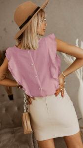 Μπλούζα με βολάν ρόζ 3002-2