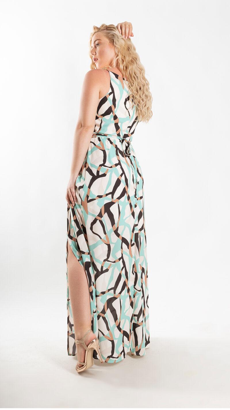 Φόρεμα μάξι μπεζ / πετρόλ 3719