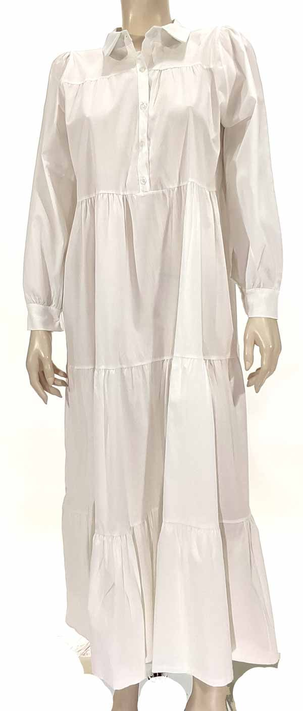 Φόρεμα ποπλίνα με βολάν λευκό 3321-3