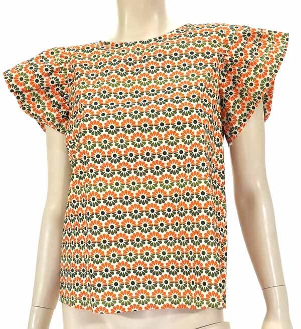 Μπλούζα εμπριμέ με βολαν πορτοκαλί 4502-1