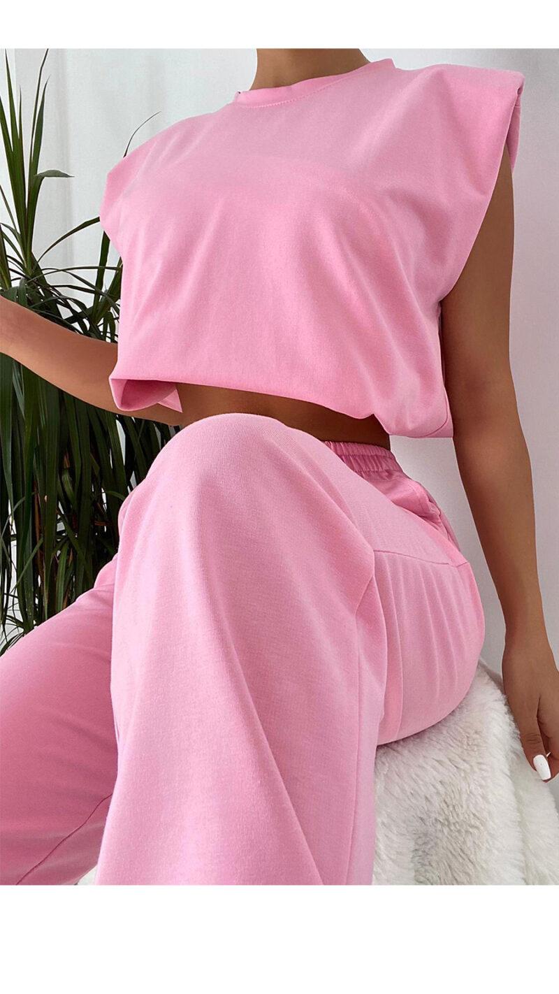 Σέτ φόρμες με βάτες ρόζ 3001-2