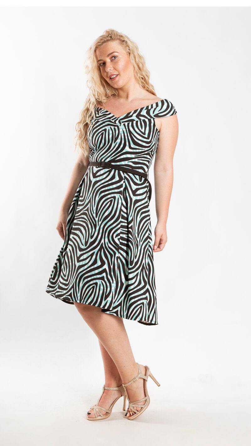 Φόρεμα κοκτέιλ ριγέ 5520
