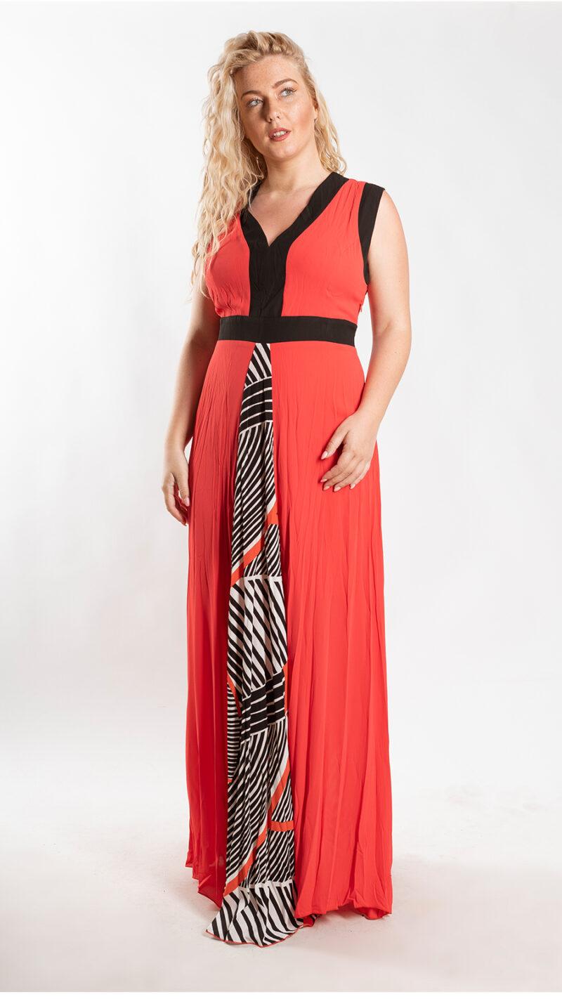 Φόρεμα maxi κόκκινο με ρίγα 2316