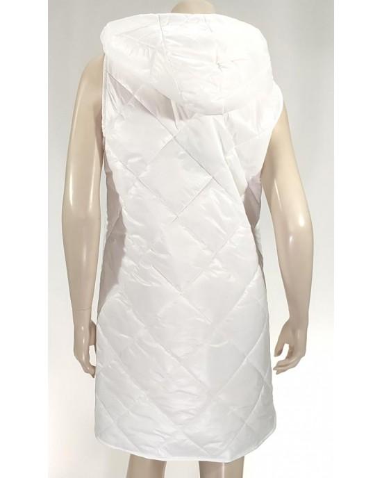Μπουφάν αμάνικο oversize με κουκουλα λευκό 3369-5