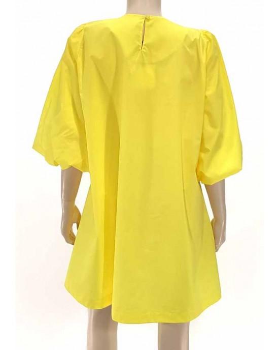 Φόρεμα ποπλίνα σε άλφα γραμμή κίτρινο 6901-3