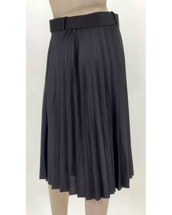Φούστα πλισέ με ζώνη μαύρη 2701-2