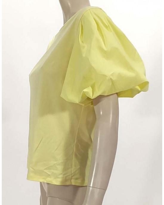 Μπλούζα με φούσκα μανίκι κίτρινο 3902-2