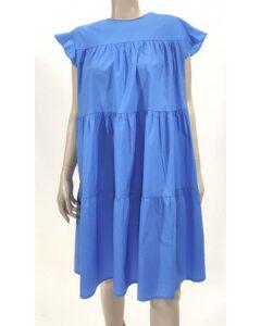 Φόρεμα ποπλίνα oversize σιέλ 1473-1