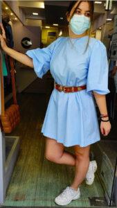 Φόρεμα ποπλίνα σε άλφα γραμμή σιέλ 6901-1