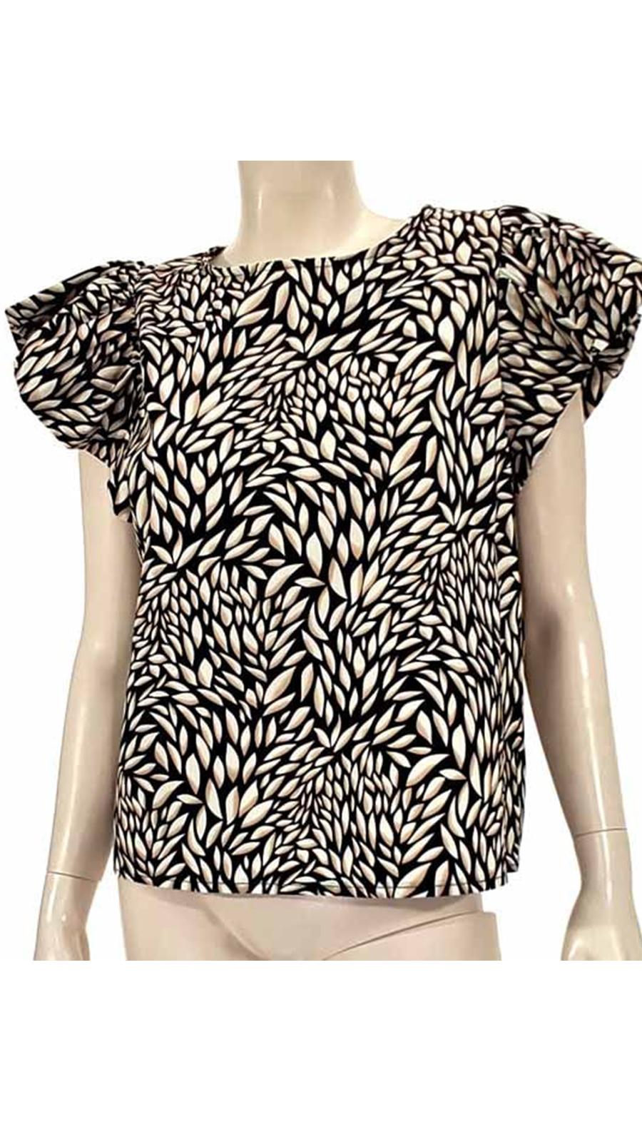 Μπλούζα εμπριμέ με βολαν μαύρη 4502-3